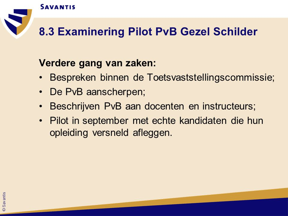© Savantis 8.3 Examinering Pilot PvB Gezel Schilder Verdere gang van zaken: Bespreken binnen de Toetsvaststellingscommissie; De PvB aanscherpen; Besch