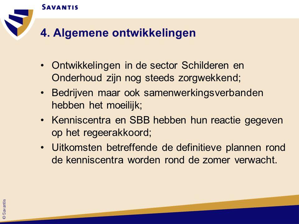 © Savantis 4. Algemene ontwikkelingen Ontwikkelingen in de sector Schilderen en Onderhoud zijn nog steeds zorgwekkend; Bedrijven maar ook samenwerking