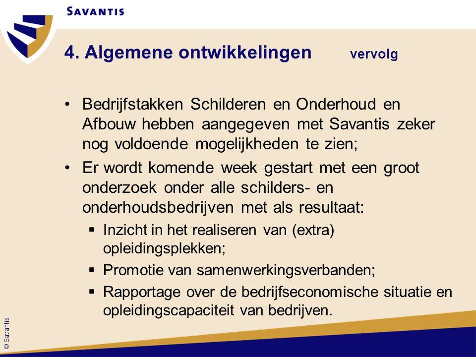 © Savantis Bedrijfstakken Schilderen en Onderhoud en Afbouw hebben aangegeven met Savantis zeker nog voldoende mogelijkheden te zien; Er wordt komende