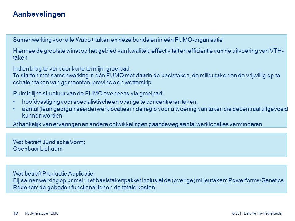 © 2011 Deloitte The Netherlands Aanbevelingen Samenwerking voor alle Wabo+ taken en deze bundelen in één FUMO-organisatie Hiermee de grootste winst op