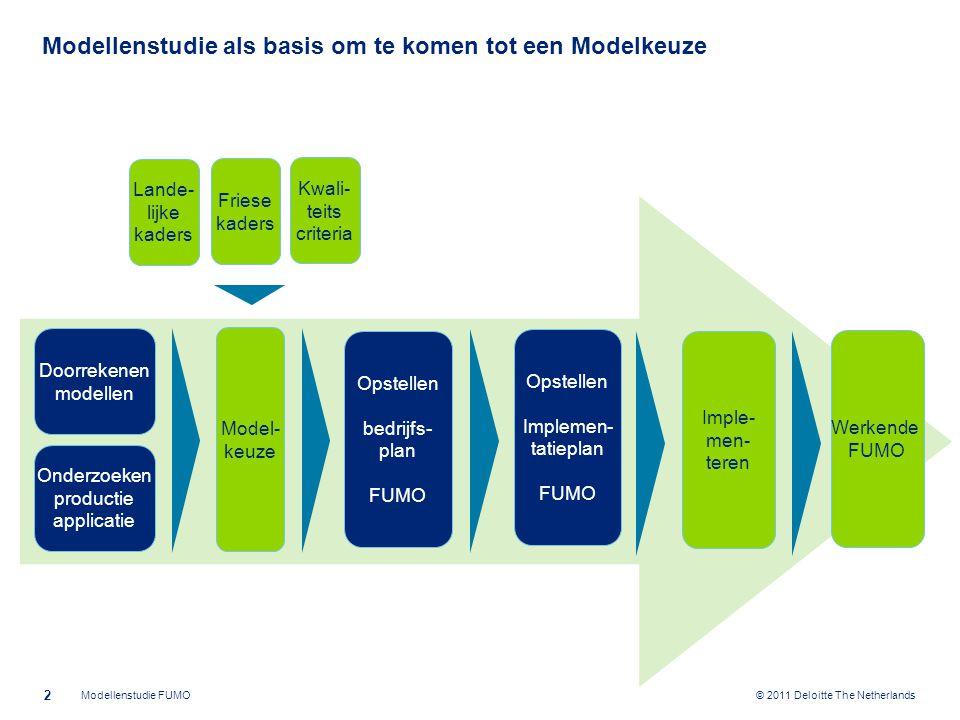 © 2011 Deloitte The Netherlands Modellenstudie als basis om te komen tot een Modelkeuze 2 Modellenstudie FUMO Doorrekenen modellen Model- keuze Opstel