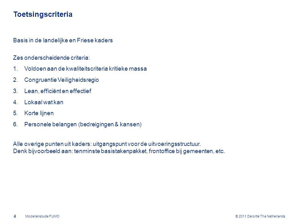 © 2011 Deloitte The Netherlands Uitvoering Doorrekening Modellen Ten behoeve van de doorrekening: gegevens opgevraagd bij de deelnemers met behulp van vragenformulier Tussentijdse bespreking stand van zaken invullen gegevens Gegevens ontvangen en bewerkt; aangevuld met ramingen bij ontbrekende informatie Resultaat: goede basis voor betrouwbare doorrekening Bij financiële doorrekening onderscheid gemaakt tussen: -structurele kosten (inclusief inverdieneffecten) -initiële kosten -achterblijvende kosten Daarbij zijn de resultaten van onderdeel Best Passende Productieapplicatie meegenomen 5 Modellenstudie FUMO