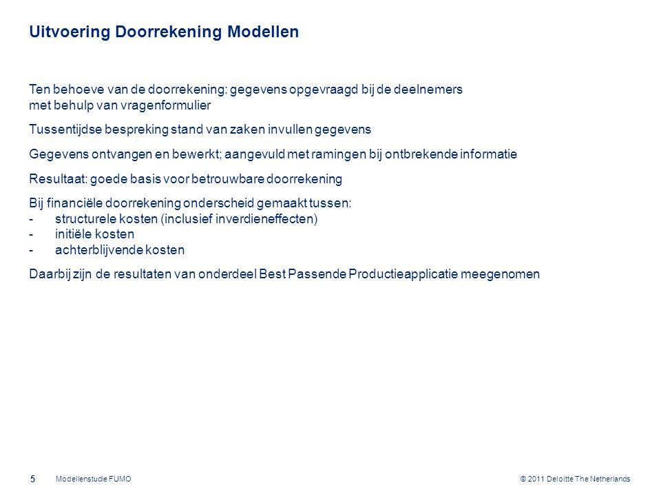 © 2011 Deloitte The Netherlands Uitvoering Juridische Vorm Beoordeling van de Juridische vormen: Private samenwerkingsvormen WGR Openbaar Lichaam WGR Gemeenschappelijk Orgaan WGR Centrumgemeente Evidente voorkeur van wetgever voor publiekrechtelijke samenwerking Vanwege de deelname van èn gemeenten èn provincie èn waterschap noemt de WGR alleen het OL en GO als mogelijkheden 6 Modellenstudie FUMO