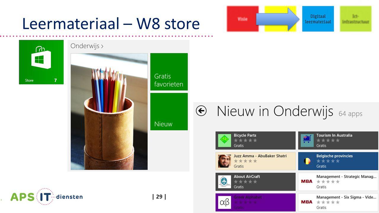| 29 | Leermateriaal – W8 store