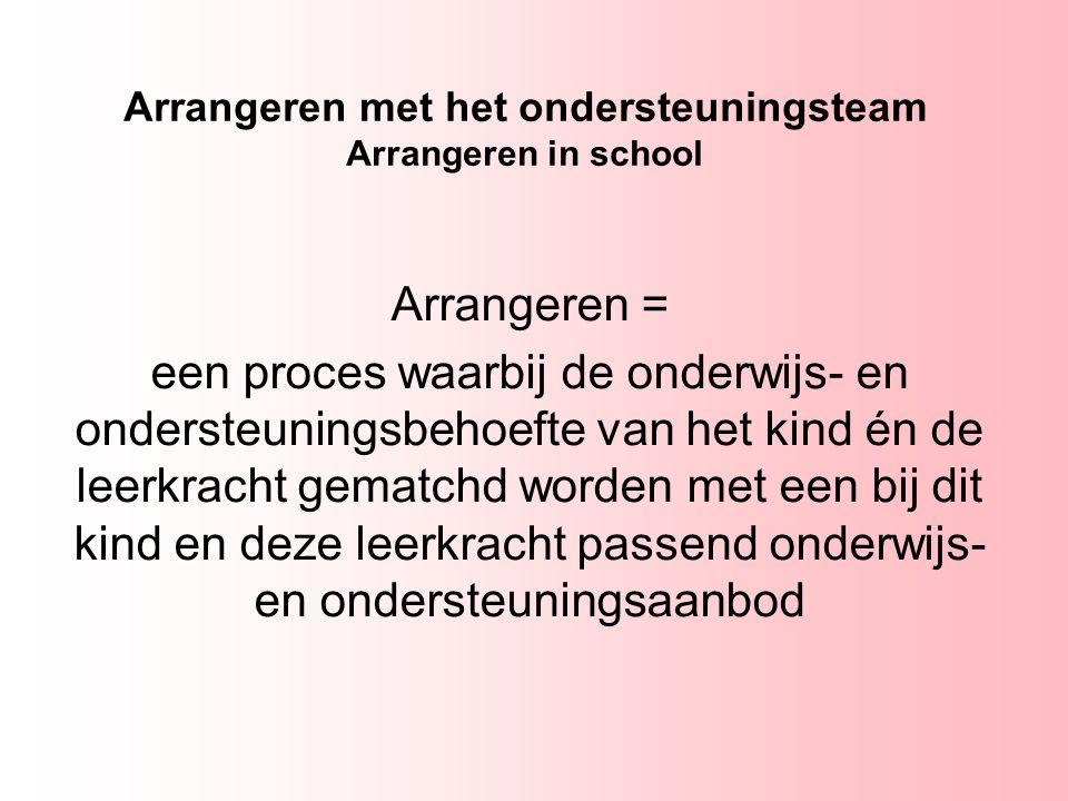Arrangeren met het ondersteuningsteam Arrangeren in school Arrangeren = een proces waarbij de onderwijs- en ondersteuningsbehoefte van het kind én de