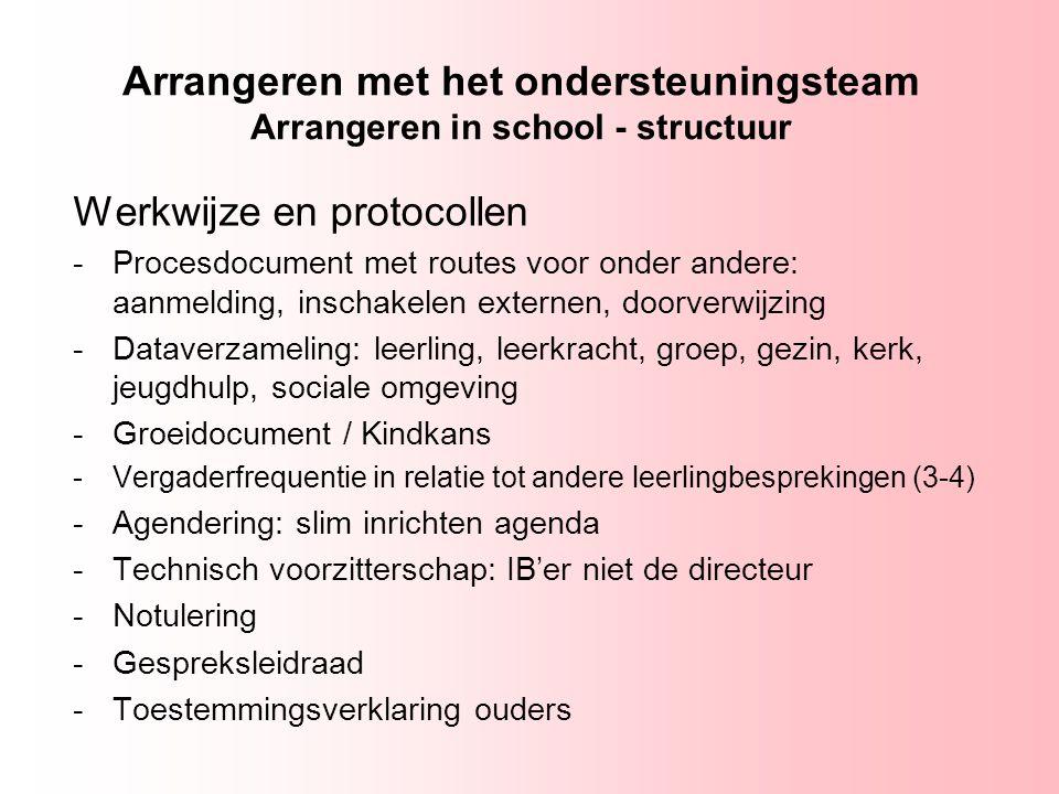 Arrangeren met het ondersteuningsteam Arrangeren in school - structuur Werkwijze en protocollen -Procesdocument met routes voor onder andere: aanmeldi