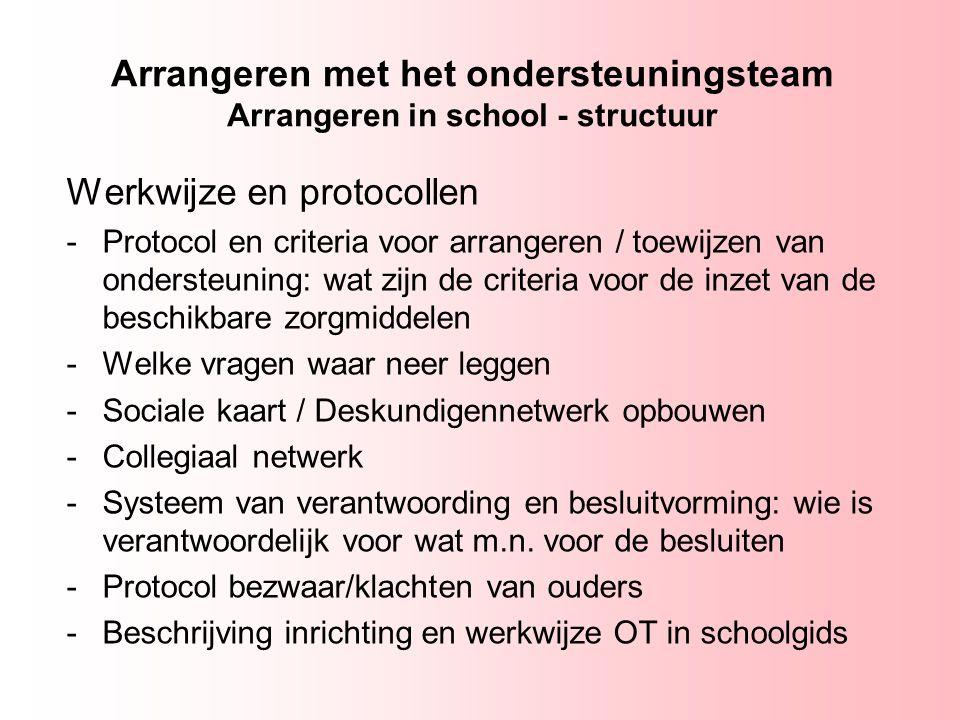 Arrangeren met het ondersteuningsteam Arrangeren in school - structuur Werkwijze en protocollen -Protocol en criteria voor arrangeren / toewijzen van
