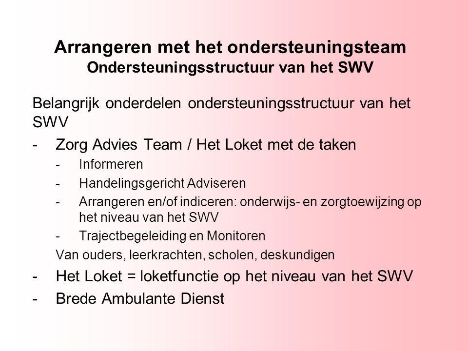 Arrangeren met het ondersteuningsteam Ondersteuningsstructuur van het SWV Belangrijk onderdelen ondersteuningsstructuur van het SWV -Zorg Advies Team