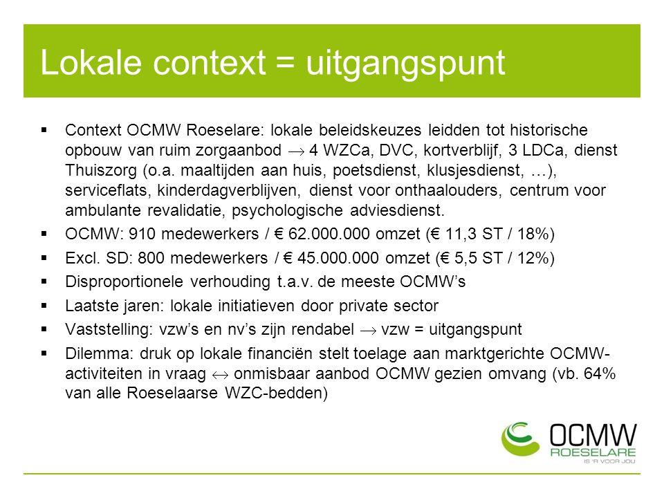 Lokale context = uitgangspunt  Context OCMW Roeselare: lokale beleidskeuzes leidden tot historische opbouw van ruim zorgaanbod  4 WZCa, DVC, kortverblijf, 3 LDCa, dienst Thuiszorg (o.a.