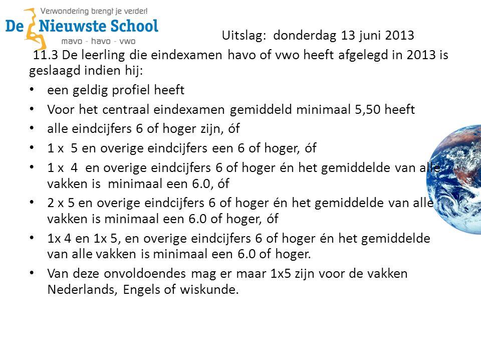 Uitslag: donderdag 13 juni 2013 11.3 De leerling die eindexamen havo of vwo heeft afgelegd in 2013 is geslaagd indien hij: een geldig profiel heeft Vo