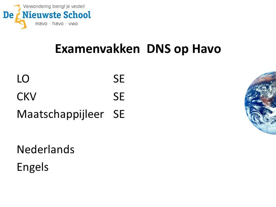 Examenvakken DNS op Havo LOSE CKVSE Maatschappijleer SE Nederlands Engels