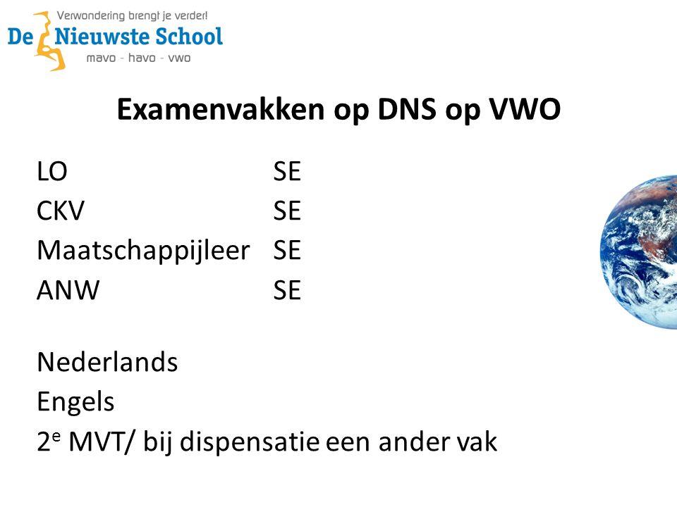 Examenvakken op DNS op VWO LOSE CKVSE Maatschappijleer SE ANWSE Nederlands Engels 2 e MVT/ bij dispensatie een ander vak