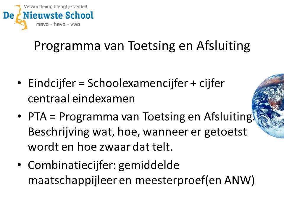 Programma van Toetsing en Afsluiting Eindcijfer = Schoolexamencijfer + cijfer centraal eindexamen PTA = Programma van Toetsing en Afsluiting. Beschrij