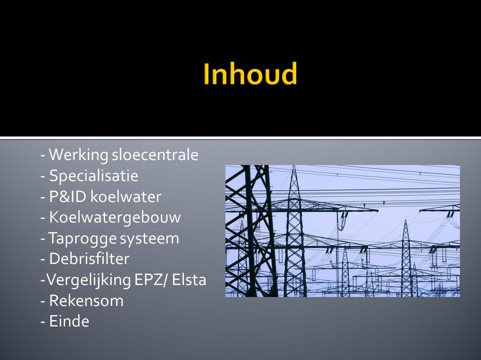 - Werking sloecentrale - Specialisatie - P&ID koelwater - Koelwatergebouw - Taprogge systeem - Debrisfilter -Vergelijking EPZ/ Elsta - Rekensom - Einde