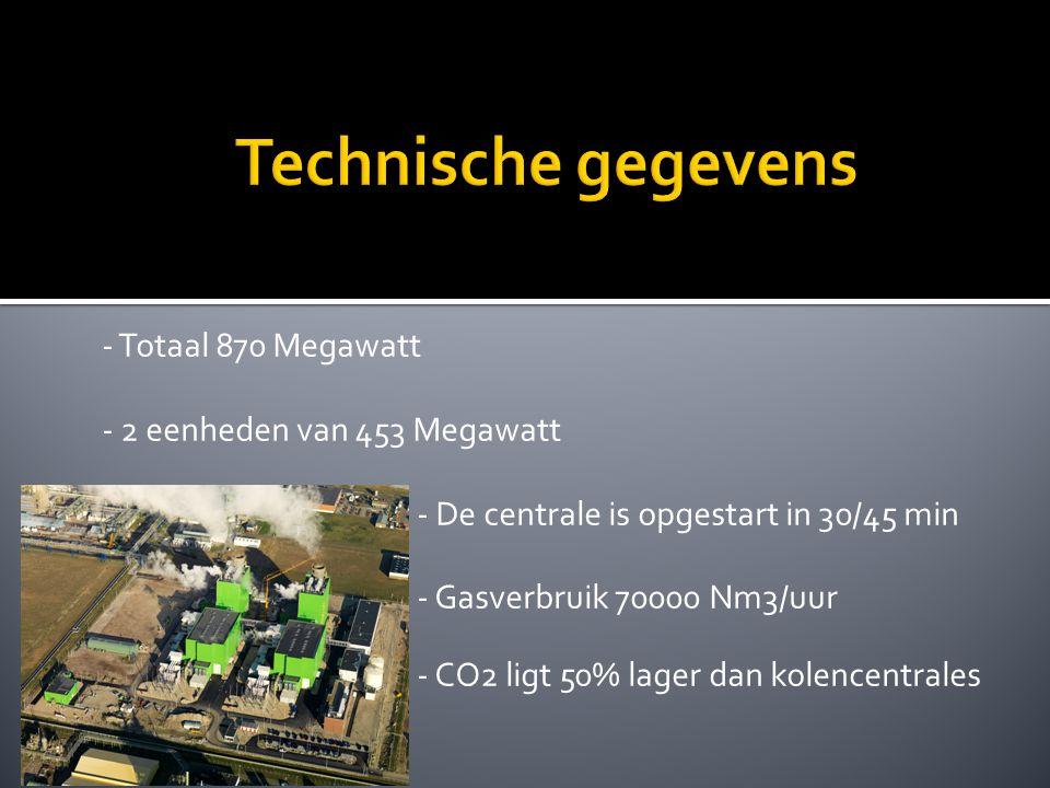 - Totaal 870 Megawatt - 2 eenheden van 453 Megawatt - De centrale is opgestart in 30/45 min minuten - Gasverbruik 70000 Nm3/uur - CO2 ligt 50% lager dan kolencentrales