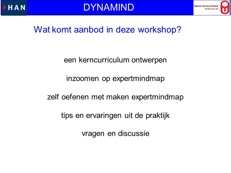 Wat komt aanbod in deze workshop? DYNAMIND een kerncurriculum ontwerpen inzoomen op expertmindmap zelf oefenen met maken expertmindmap tips en ervarin