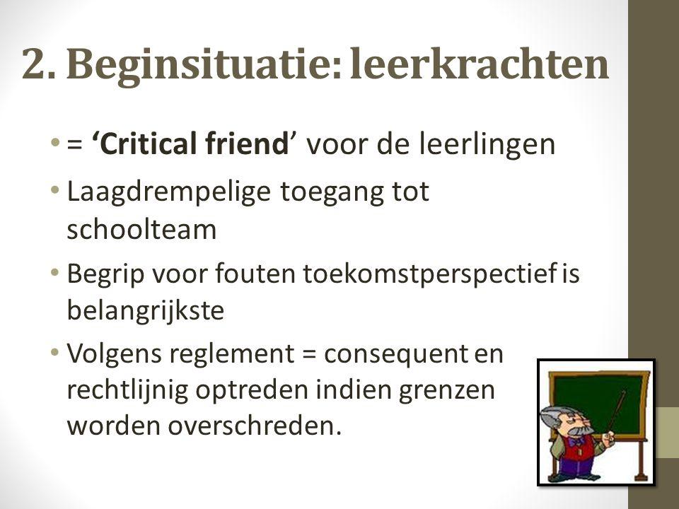 2. Beginsituatie: leerkrachten = 'Critical friend' voor de leerlingen Laagdrempelige toegang tot schoolteam Begrip voor fouten toekomstperspectief is