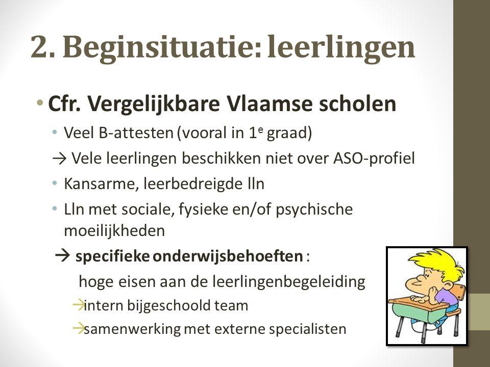 2. Beginsituatie: leerlingen Cfr. Vergelijkbare Vlaamse scholen Veel B-attesten (vooral in 1 e graad) → Vele leerlingen beschikken niet over ASO-profi