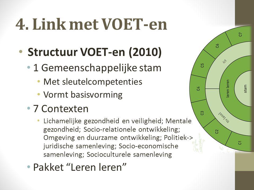 4. Link met VOET-en Structuur VOET-en (2010) 1 Gemeenschappelijke stam Met sleutelcompetenties Vormt basisvorming 7 Contexten Lichamelijke gezondheid