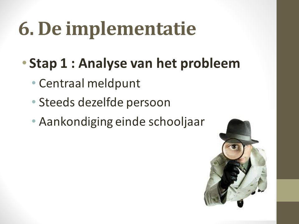 6. De implementatie Stap 1 : Analyse van het probleem Centraal meldpunt Steeds dezelfde persoon Aankondiging einde schooljaar