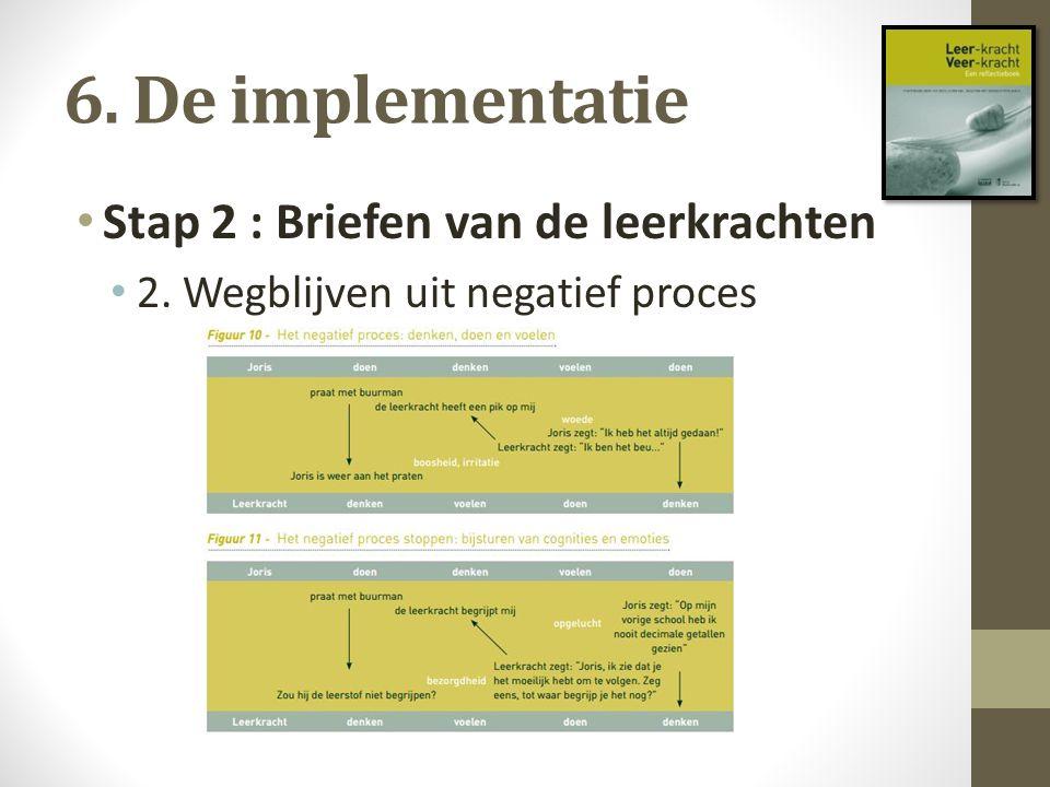 6. De implementatie Stap 2 : Briefen van de leerkrachten 2. Wegblijven uit negatief proces