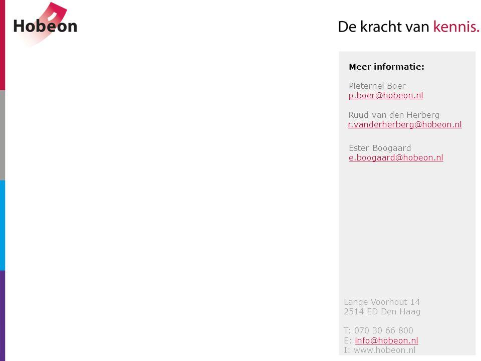 Lange Voorhout 14 2514 ED Den Haag T: 070 30 66 800 E: info@hobeon.nlinfo@hobeon.nl I: www.hobeon.nl Meer informatie: Pieternel Boer p.boer@hobeon.nl