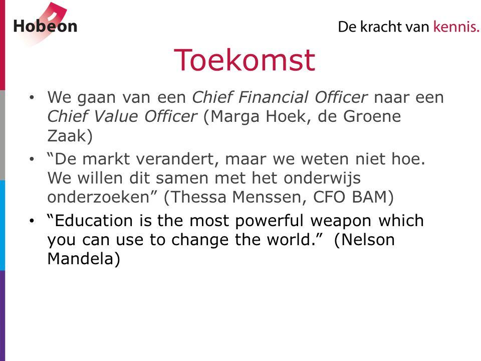 """Toekomst We gaan van een Chief Financial Officer naar een Chief Value Officer (Marga Hoek, de Groene Zaak) """"De markt verandert, maar we weten niet hoe"""