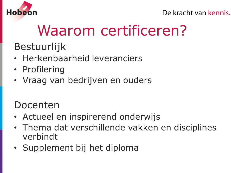 Waarom certificeren? Bestuurlijk Herkenbaarheid leveranciers Profilering Vraag van bedrijven en ouders Docenten Actueel en inspirerend onderwijs Thema