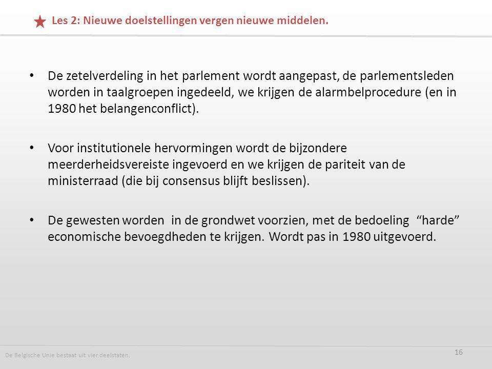De zetelverdeling in het parlement wordt aangepast, de parlementsleden worden in taalgroepen ingedeeld, we krijgen de alarmbelprocedure (en in 1980 het belangenconflict).