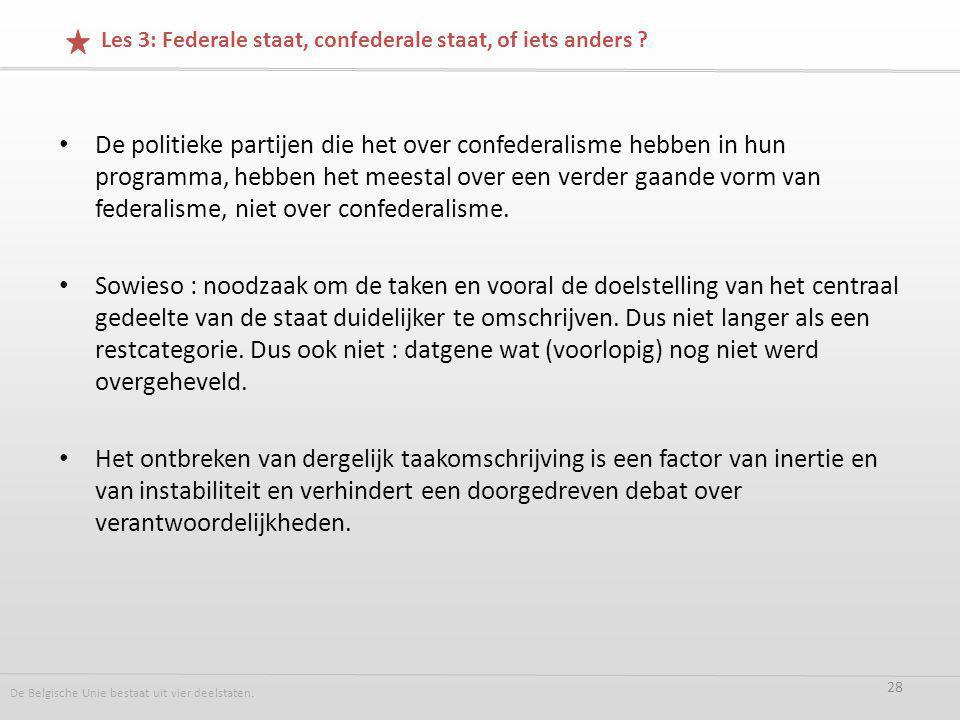 De politieke partijen die het over confederalisme hebben in hun programma, hebben het meestal over een verder gaande vorm van federalisme, niet over confederalisme.