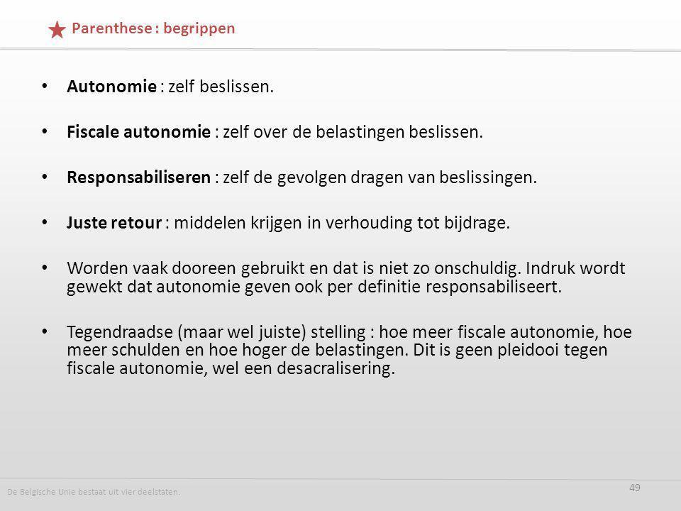 Autonomie : zelf beslissen. Fiscale autonomie : zelf over de belastingen beslissen.
