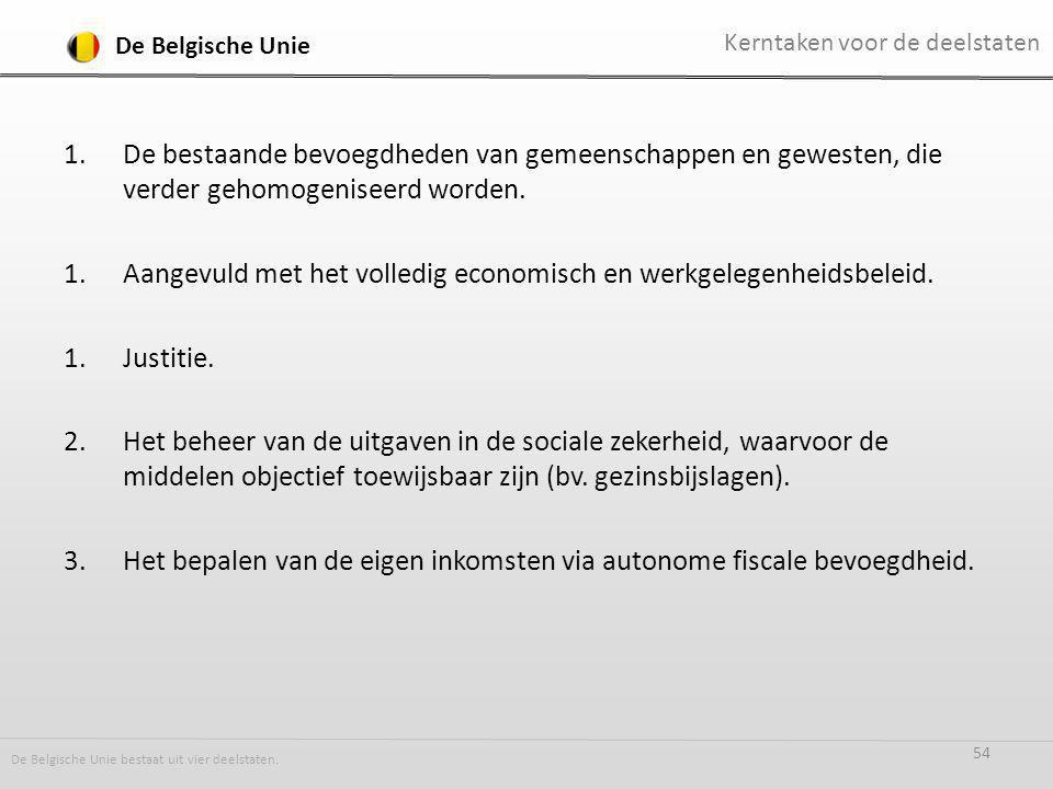 1.De bestaande bevoegdheden van gemeenschappen en gewesten, die verder gehomogeniseerd worden.