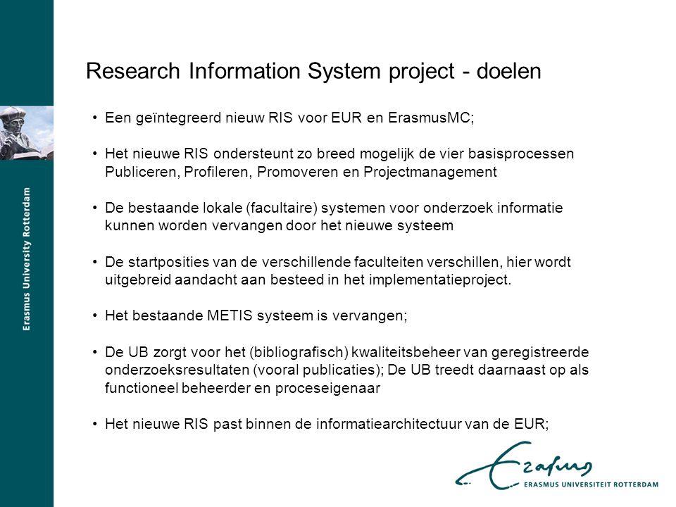 Research Information System project - doelen Een geïntegreerd nieuw RIS voor EUR en ErasmusMC; Het nieuwe RIS ondersteunt zo breed mogelijk de vier ba
