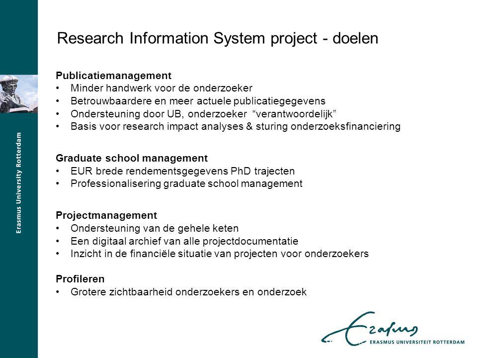 Research Information System project - doelen Publicatiemanagement Minder handwerk voor de onderzoeker Betrouwbaardere en meer actuele publicatiegegeve