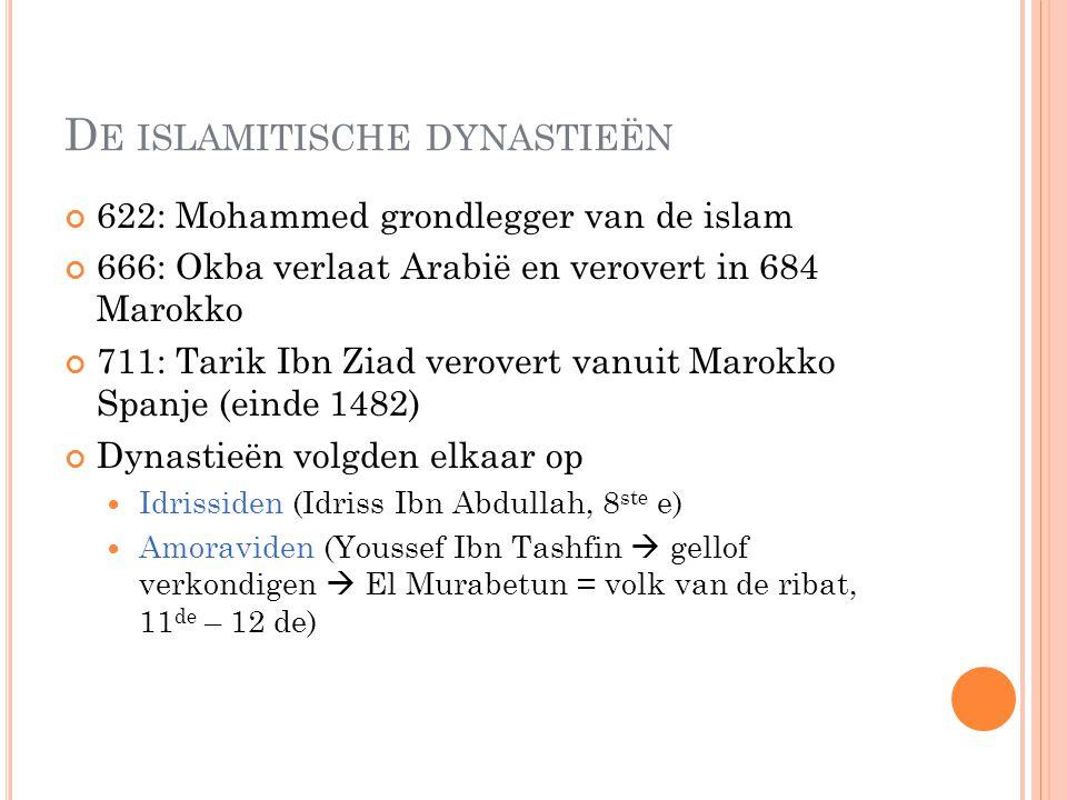D E ISLAMITISCHE DYNASTIEËN 622: Mohammed grondlegger van de islam 666: Okba verlaat Arabië en verovert in 684 Marokko 711: Tarik Ibn Ziad verovert va