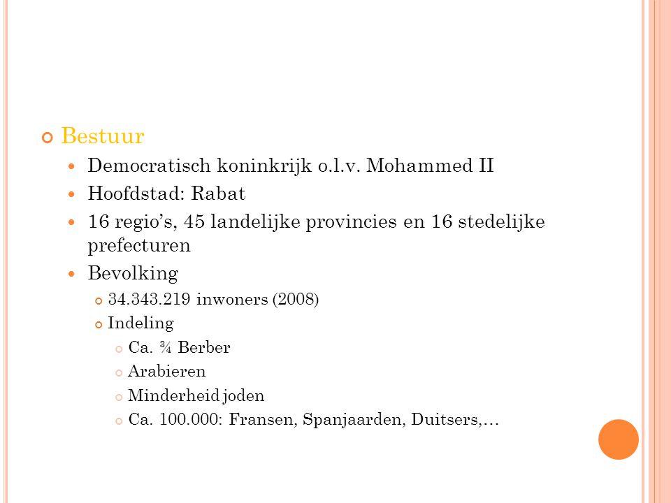 Bestuur Democratisch koninkrijk o.l.v. Mohammed II Hoofdstad: Rabat 16 regio's, 45 landelijke provincies en 16 stedelijke prefecturen Bevolking 34.343