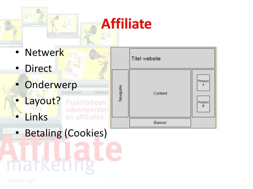 Affiliate Netwerk Direct Onderwerp Layout Links Betaling (Cookies)
