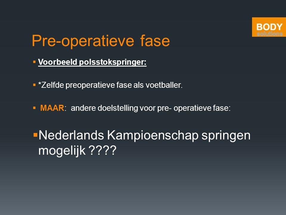 Pre-operatieve fase  Voorbeeld polsstokspringer:  *Zelfde preoperatieve fase als voetballer.  MAAR: andere doelstelling voor pre- operatieve fase: