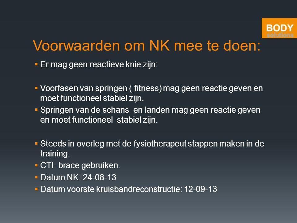 Voorwaarden om NK mee te doen:  Er mag geen reactieve knie zijn:  Voorfasen van springen ( fitness) mag geen reactie geven en moet functioneel stabi
