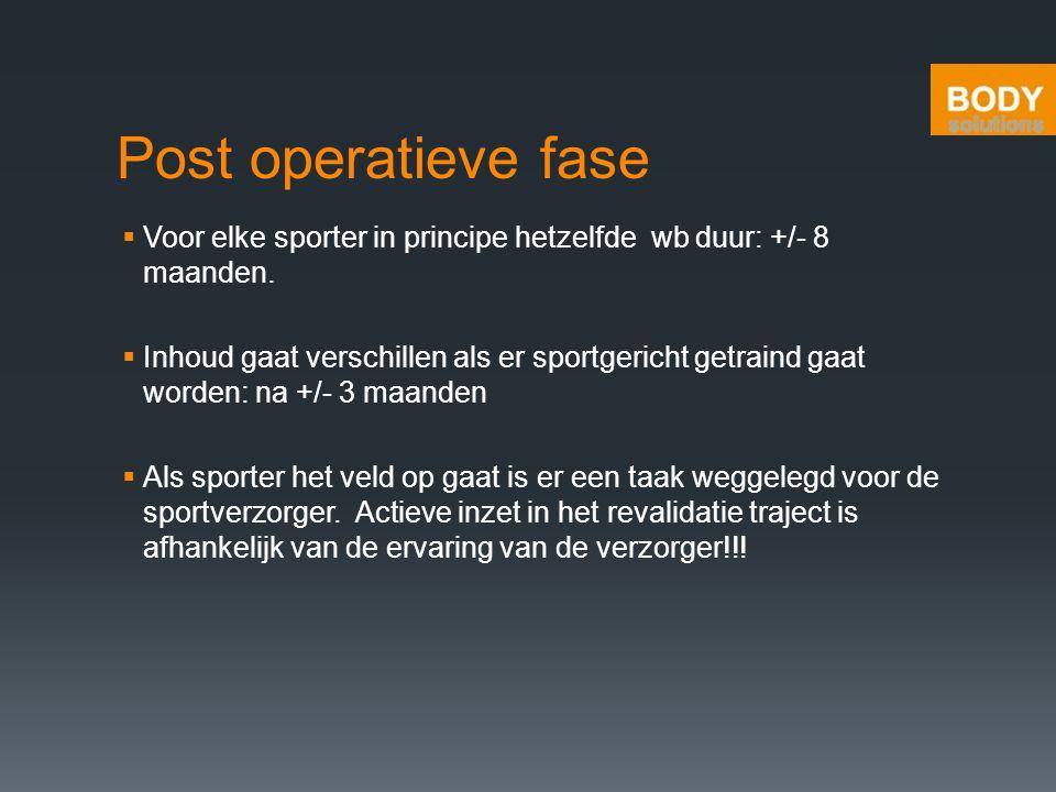 Post operatieve fase  Voor elke sporter in principe hetzelfde wb duur: +/- 8 maanden.  Inhoud gaat verschillen als er sportgericht getraind gaat wor