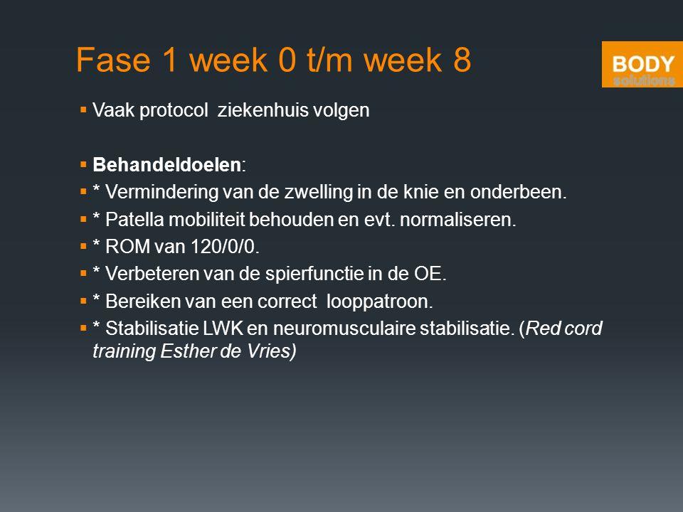 Fase 1 week 0 t/m week 8  Vaak protocol ziekenhuis volgen  Behandeldoelen:  * Vermindering van de zwelling in de knie en onderbeen.  * Patella mob