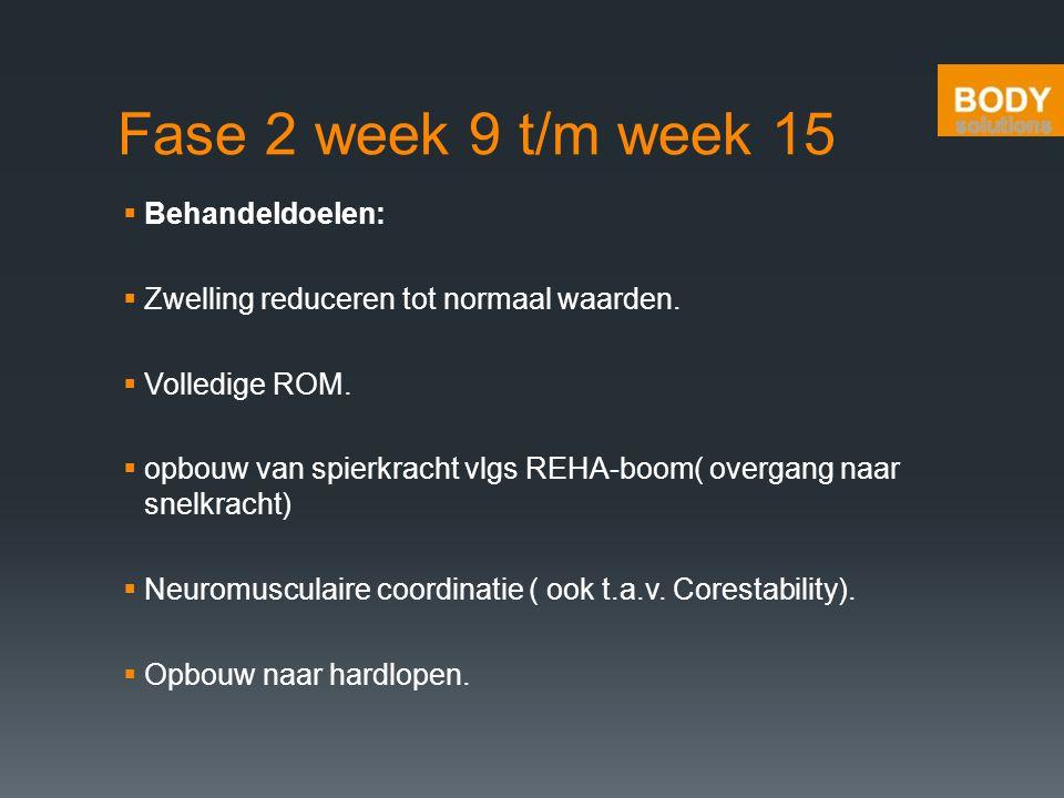 Fase 2 week 9 t/m week 15  Behandeldoelen:  Zwelling reduceren tot normaal waarden.  Volledige ROM.  opbouw van spierkracht vlgs REHA-boom( overga