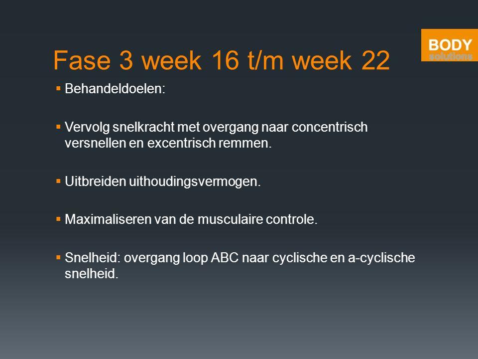 Fase 3 week 16 t/m week 22  Behandeldoelen:  Vervolg snelkracht met overgang naar concentrisch versnellen en excentrisch remmen.  Uitbreiden uithou