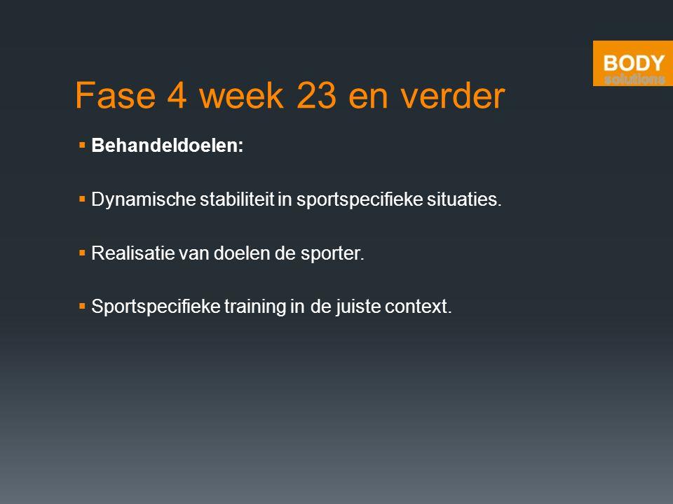 Fase 4 week 23 en verder  Behandeldoelen:  Dynamische stabiliteit in sportspecifieke situaties.  Realisatie van doelen de sporter.  Sportspecifiek