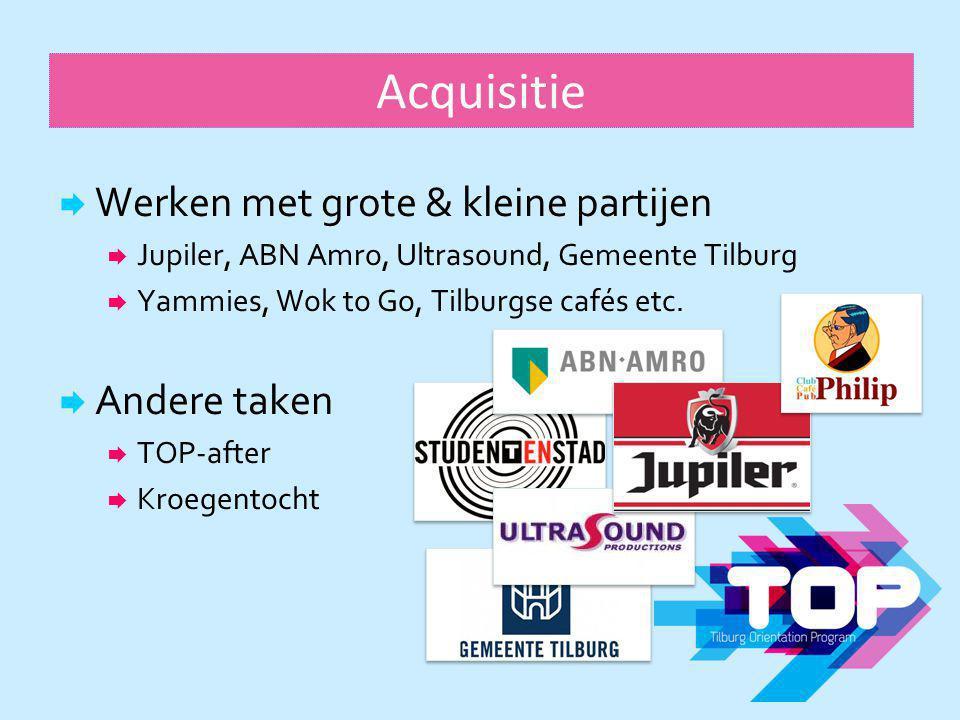 Acquisitie  Werken met grote & kleine partijen  Jupiler, ABN Amro, Ultrasound, Gemeente Tilburg  Yammies, Wok to Go, Tilburgse cafés etc.  Andere
