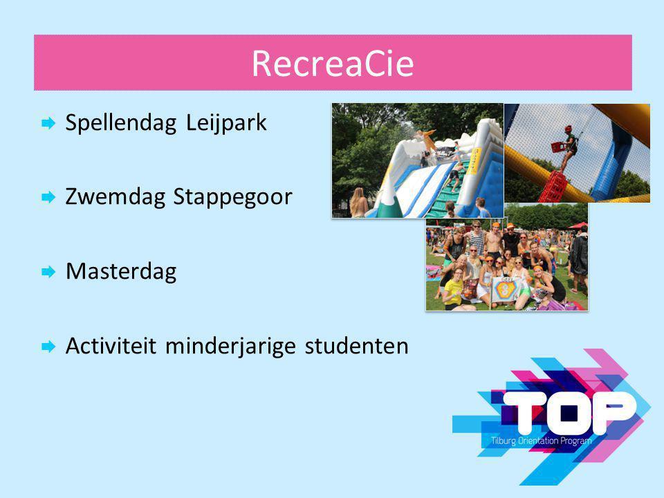 RecreaCie  Spellendag Leijpark  Zwemdag Stappegoor  Masterdag  Activiteit minderjarige studenten