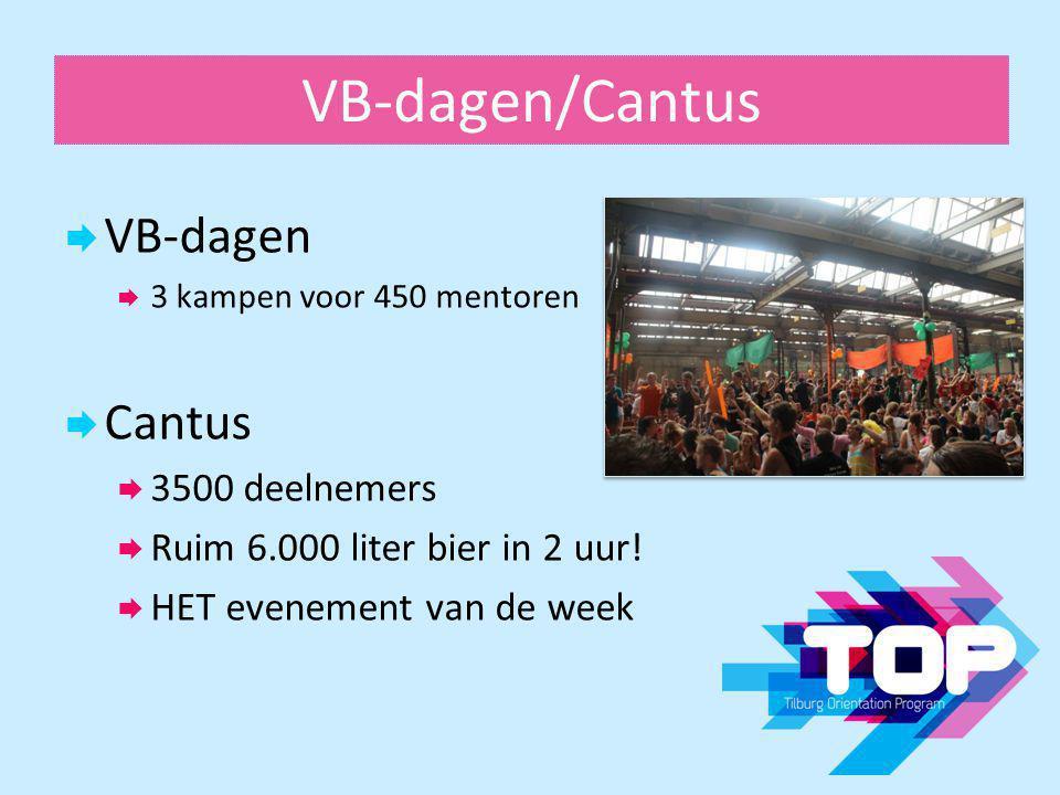 VB-dagen/Cantus  VB-dagen  3 kampen voor 450 mentoren  Cantus  3500 deelnemers  Ruim 6.000 liter bier in 2 uur!  HET evenement van de week