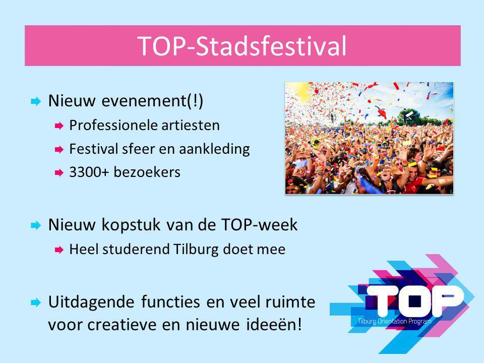 TOP-Stadsfestival  Nieuw evenement(!)  Professionele artiesten  Festival sfeer en aankleding  3300+ bezoekers  Nieuw kopstuk van de TOP-week  He
