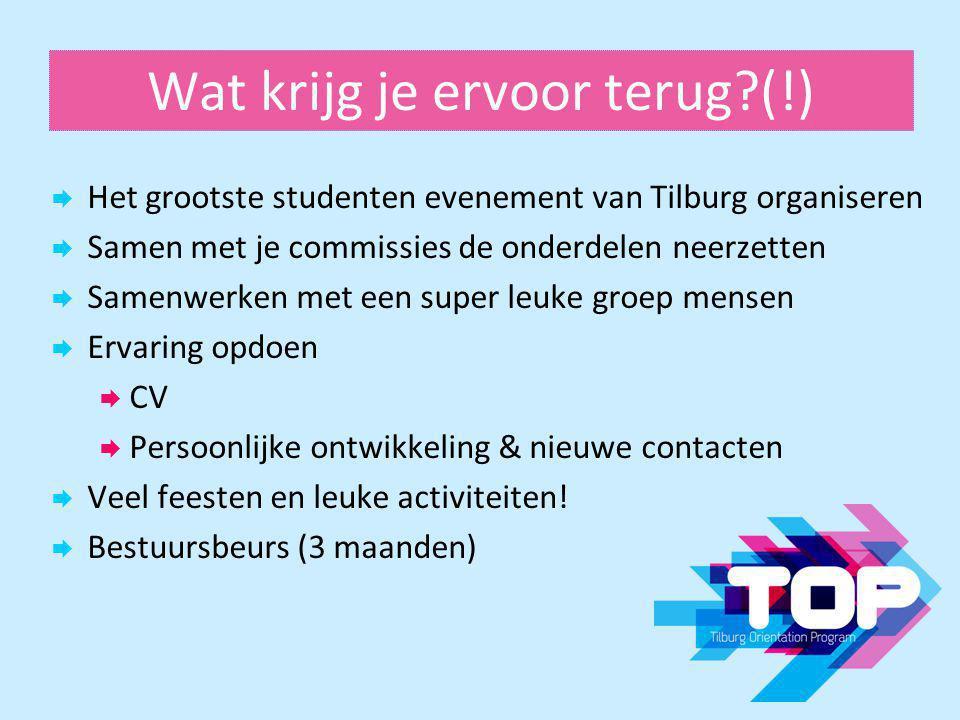 Wat krijg je ervoor terug?(!)  Het grootste studenten evenement van Tilburg organiseren  Samen met je commissies de onderdelen neerzetten  Samenwer