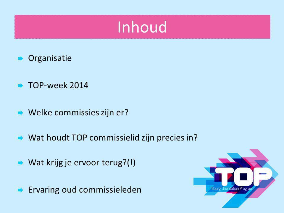 Inhoud  Organisatie  TOP-week 2014  Welke commissies zijn er?  Wat houdt TOP commissielid zijn precies in?  Wat krijg je ervoor terug?(!)  Ervar